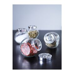 How cute are these??  RAJTAN Spice jar IKEA Transparent; makes it easy to find what you're looking for.