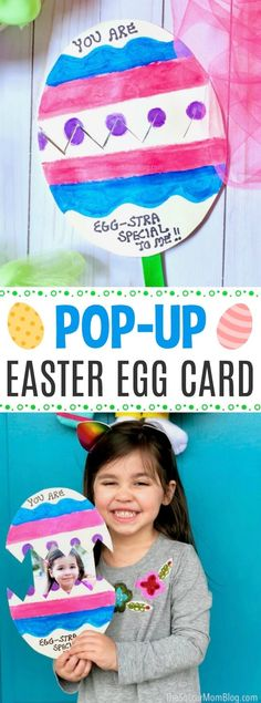 This kid made pop-up Easter egg card has the cutest surprise inside! This kid made pop-up Easter egg card has the cutest surprise inside! Easter Egg Crafts, Easter Projects, Easter Art, Bunny Crafts, Easter Eggs, Easter Bunny, Classroom Crafts, Preschool Crafts, Egg Card