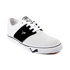 Mens Puma El Ace Leather Athletic Shoe in White Black at Journeys Shoes.
