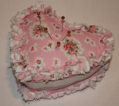 shabby heart pin cushion