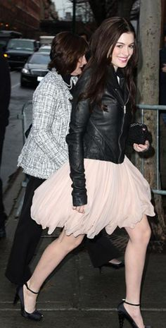 anne hathaway style - love the leather jacket with a soft skirt