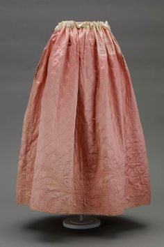 Quilted pink satin underskirt c.1780s