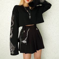 Y Demo Gothic Dragon Embroidery Women's T-shirt Long Sleeve Punk Sweatshirt Loose Short Sexy Girl Crush T-shirts You are in the right place about Gothic Style clothing Here we offer you the most beaut Gothic Outfits, Edgy Outfits, Korean Outfits, Mode Outfits, Grunge Outfits, Grunge Fashion, Look Fashion, Korean Fashion, Fashion Outfits