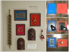 Accent wall, brass artifacts, collage with frames, diy fabric frames Indian Wall Decor, Indian Home Decor, Diy Wand, Picture Wall, Picture Frames, White Picture, The Wall Show, Framed Fabric, Fabric Wall Decor