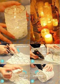Un frasco de vidrio, forrarlo con encaje… make for reception Deco pour lampion DIY wedding centerpieces with white lace and candles Handmade handcrafted wedding details, Cute and creative DIY ideas, Whimsical wedding decorations, Wedding reception idea Deco Champetre, Diy Candles, Lace Candles, Bottle Candles, Mason Jar Crafts, Glitter Mason Jars, Candle Making, Wedding Centerpieces, Centrepieces