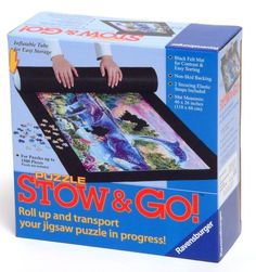 Puzzle Stow and Go by Ravensburger (666273814616) Black Felt Mat for Contrast & Easy Sorting special non skid backing inflatable tube for compact storage 2 securing elastic straps included 46 by 26 inch (118 by 66 cm) Mat for up to 1500 piece puzzle
