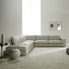 Relax Contemporary Italian Corner Sofa in cream leather