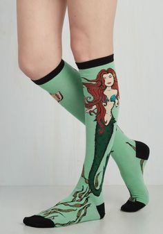 Siren, Sealed, Delivered Socks. Start to skip in these knee-high socks and youll know you were mermaid for each other! #green #modcloth