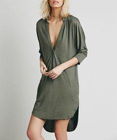 Plain V-Neck Sleeve Asymmetrical Dress Shirt
