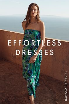 A dress that makes a statement all its own is the definition of effortless. Style a tropical printed ruffle maxi dress for a special occasion with a nice clutch, or dress it down with a basket tote. Shop now at Banana Republic.