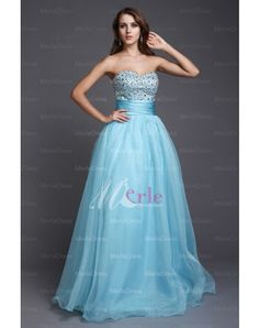 A-line Sweetheart Beading Sleeveless Floor-length Organza Prom Dresses
