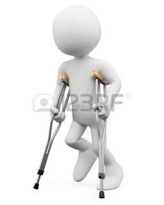 discapacidad: 3 ª persona blanca con muletas. Imagen en 3d. Aislado fondo blanco. Foto de archivo