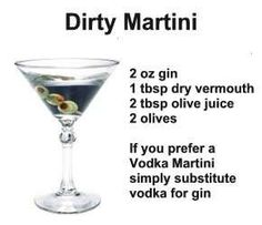 dirty martini recipe can be made with vodka or gin
