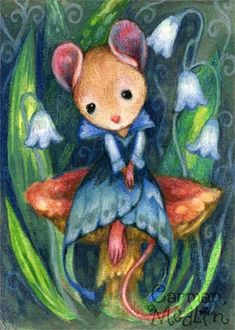 Elegant Mouse cute animal art Carmen Medlin