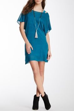Tunic Inset Sheer Sweater Dress
