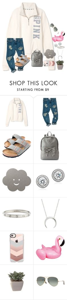 """""""~tag in d~"""" by taybug2147 ❤ liked on Polyvore featuring Victoria's Secret PINK, OneTeaspoon, Birkenstock, Candie's, LIND DNA, Crislu, Cartier, Casetify and Ray-Ban"""