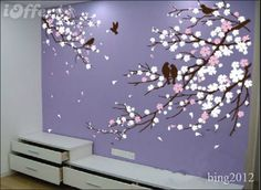 cherry blossom with birds lilac background