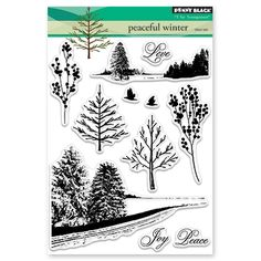 30-450 Penny Black Peaceful Winter Clear Stamp Set | Crafts U Love