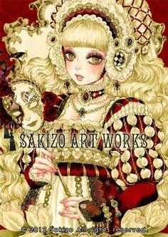 Renaissance princess with mask by manga artist Sakizou.
