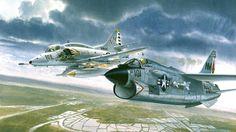 aircraft artwork Douglas A-4 Skyhawk Vought F-8 Crusader  / 1920x1080 Wallpaper