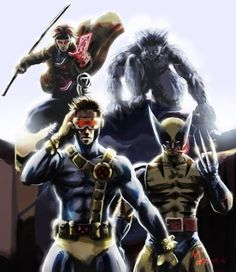 Guys. It's basically my four favorite movie X-Men: Gambit, Beast, Cyclops, and Wolverine. <3