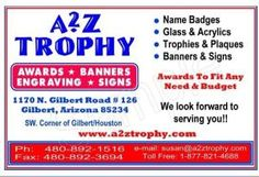 A2Z Trophy *Awards *Banners *Engraving *Signs