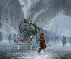 romantiek op het perron Classic Paintings, Beautiful Paintings, Train Art, Art Folder, Railway Posters, Fantasy Illustration, Dark Fantasy Art, Belle Photo, Cute Art