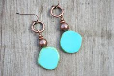Turquoise Czech Glass and Copper Earrings by AlchemyArtworks