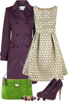 absolutely gorgeous dress and the purple coat is very cute - everything but the green purse.