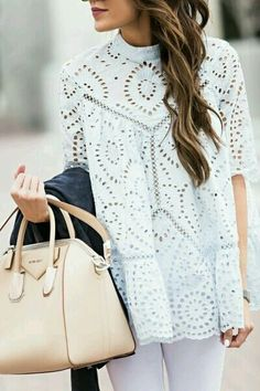 This light mint color lace tunic goes  perfectly with white denim, ivory accessories, or white leggings and nude heels.
