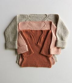 Free Knitting Pattern for Easy Pullover for Babies, Toddlers + Kids - This classic sweater design features a T-shape, long sleeves that can be rolled up, a wide neck opening, and a loose fit. Designed by Purl Soho who rates the design easy. Sizes to fit most 12 month (2, 4, 6) year olds