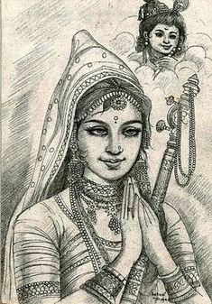 Mirabai was a great saint and devotee of Sri Krishna. Despite facing criticism and hostility from her own family, she lived an exemplary saintly life and composed many devotional bhajans. Arte Krishna, Saints Of India, Spiritual Photos, Pencil Shading, Lord Krishna Images, Krishna Painting, Krishna Wallpaper, Women In History, Image Hd
