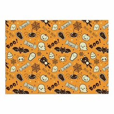 KESS InHouse KESS Original 'All Cute Halloween' Orange Pattern Dog Place Mat, 13' x 18' >>> Don't get left behind, see this great dog product : Dog food container