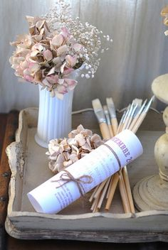 Dry hydrangeas & paint brushes