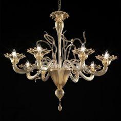 Gondola Murano chandelier - 8 lights - all gold