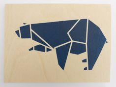 Cute Origami Bear on Plywood, Original Stencil Art on an Plywood Block, Blue Bear, Hand Cut and Hand painted Artwork.