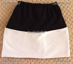 Removable elements, reversible pieces, whatever - I love a gimmicky garment that offers options. I had a small stripe of tan knit fabric fr. Reversible Skirt, Diy Tutorial, Knitted Fabric, Color Blocking, Cheer Skirts, Sewing, Knitting, Easy, Fashion