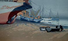 ✨ Oscar Droege (1898-1983) - Trocken gefallen, Farb-Holzschnitt ::: Fallen Dry, Colour Woodcut