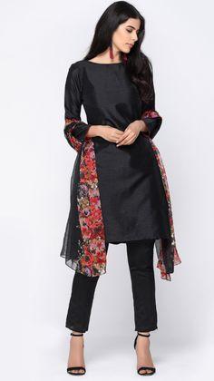 Black Silk Printed Trouser Suit
