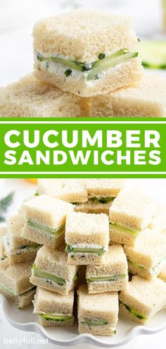 Cucumber Sandwiches are an appetizer must for a tea party, Mother's Day brunch, baby shower, bridal shower, or any get together. Simple finger food that's cool, fresh, light, and so delicious! Brunch Appetizers, Finger Food Appetizers, Brunch Recipes, Appetizer Recipes, Party Recipes, Finger Food Recipes, Bridal Shower Appetizers, Cucumber Appetizers, Brunch Finger Foods