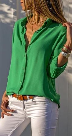 women tops blouses elegant long sleeve solid v-neck chiffon blouse female work wear shirts plus size blouse blusa feminina - Purple M You are in the right place about Blouse casual Here we offer you t Plus Size Shirts, Plus Size Blouses, Mode Outfits, Fashion Outfits, Fashion Clothes, Look Boho, Long Blouse, Mode Inspiration, Mode Style