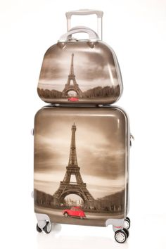 Best Carry On Luggage, Cute Luggage, Luggage Sets, Luggage Backpack, Backpack Bags, Betsey Johnson Luggage, Cute Suitcases, I Love Paris, Luxury Bags