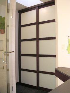 wenge shoji bathroom door Minimalist Bathroom Design, Modern Minimalist, Glass Bathroom Door, Sliding Doors, Color Inspiration, Bathrooms, Barn, Decorating, House Styles
