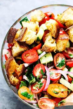 Summer Panzanella with Garlic Butter Bread - this popular Italian salad is a perfect addition to any summer meal or BBQ. Crusty garlic bread is to die for.