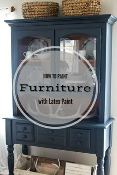 This post will show you how easy it is to paint furniture with latex paint! I took this old country hutch and gave it a fresh new coat of navy blue!