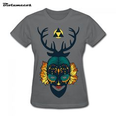 $11.58 Aliexpress.com : Buy Women Short Sleeve T Shirts Casual  100% Cotton Face With Mask And Antlers T shirt Brand Tee Top WTQ045 from Reliable tee top suppliers on Biotumecos Store