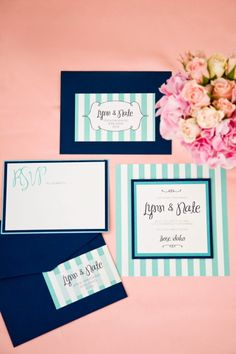 Pretty invitation suite -  Navy and teal @Karen Jacot Darling Me Pretty