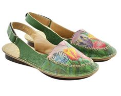 Anuschka Sling Back 4201 PPK Passionate Peacocks Hand Painted ...