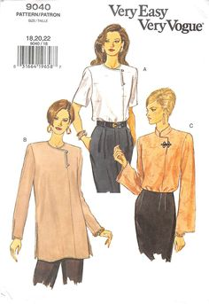 ee7ebc69cb2f91 VOGUE 9040 - FROM 2001 - UNCUT - MISSES TOP & TUNIC - Create-Everyday.  Couture TopsBlouse PatternsVogue Sewing ...