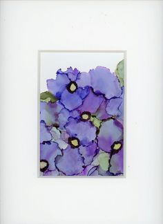 Alcohol ink painting of pansies. Done in beautiful shades of purple and blue.  Matted with a white mat. Mat is included. Mat measures 11 x 14 inches and fits into your frame of that size.